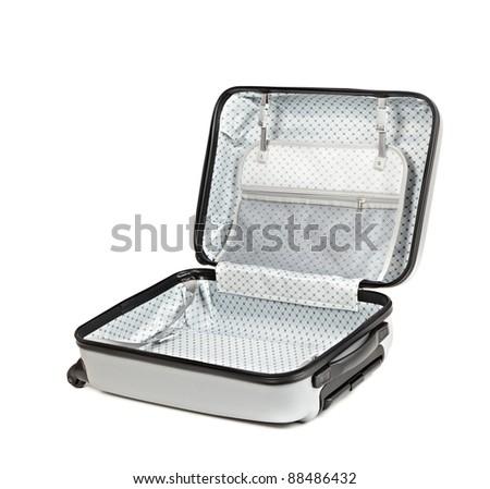 Opened travel case isolated on white background