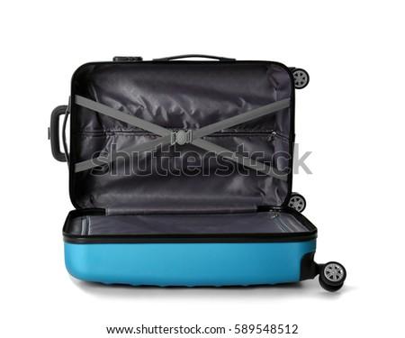 Opened traveler bag, isolated on white