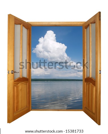 opened two-leaf wooden door and cloudy landscape isolated with clipping path - stock photo