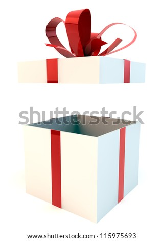 Opened white gift box with red ribbons