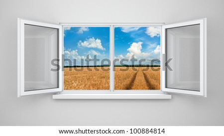 Opened windows with landscape