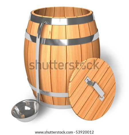 Opened wooden barrel with scoop - stock photo