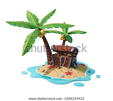 Opened wooden chest standing under palm trees on sand, sea shells, starfish. Old pirate fantasy treasure chest lost on island with gold coins, goblet, pearl beads. 3d render isolated on white backdrop Сток-фото ©