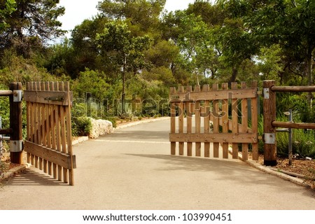Opened wooden gate