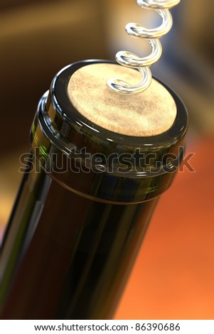 Opening a bottle of wine (shallow DOF)
