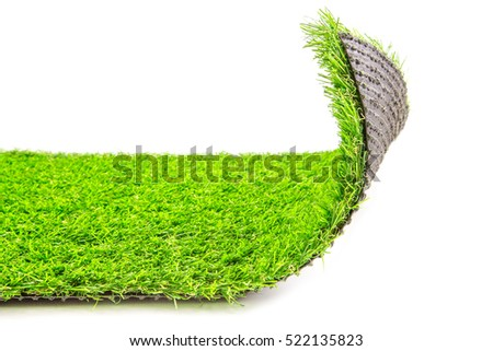 opening artificial grass mat isolated on a white background