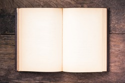 Opening blank page of vintage brown hardcover book