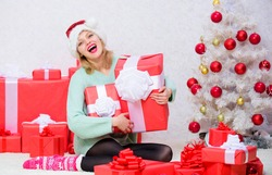 Opening christmas gift. Girl near christmas tree happy celebrate holiday. Give her gift that she always wanted. Woman excited blonde hold gift box with bow. Perfect gift for girlfriend or wife.