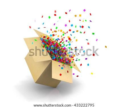 Opening Gift Box and Confetti. Illustration 3d rendering #433222795