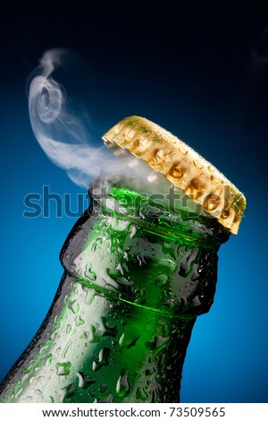 Opening of beer cap with the gas output