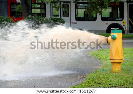 openned fire hydrant with sewage water