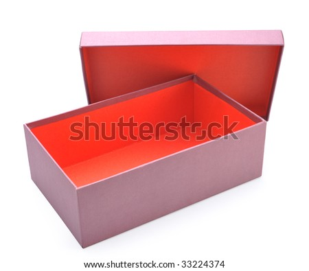 Opens red shoes box