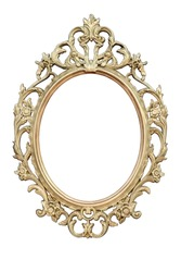 Openwork oval golden colored frame isolated on white background.