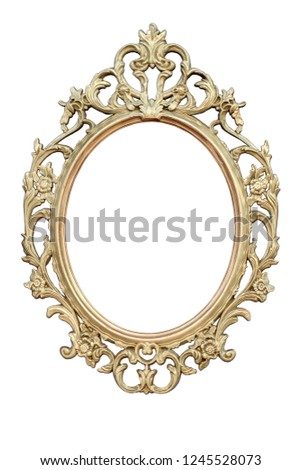 Openwork oval golden colored frame isolated on white background. #1245528073