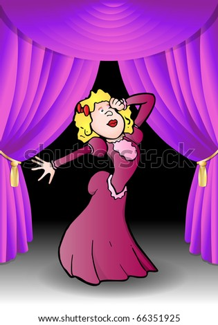 Opera diva in performance mode on stage background illustration