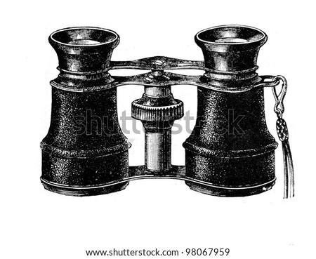 "Opera glasses. Engraving from  magazine ""Niva"", publishing house A.F. Marx, St. Petersburg, Russia, 1888"