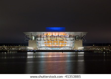 Opera house and the river at night