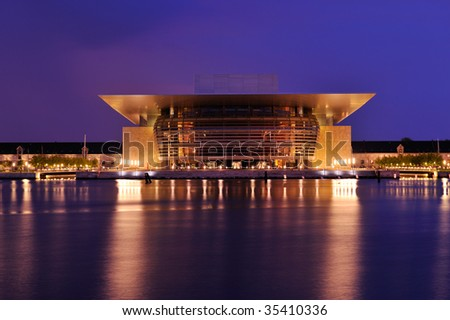Opera house of Copengagen in Denmark at night
