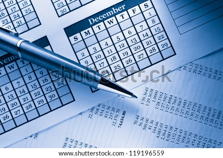 Operating budget, calendar and pen