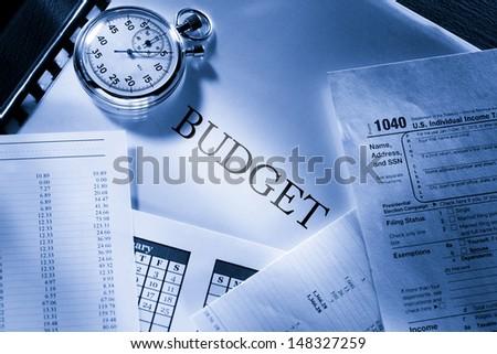 Operating budget, calendar, stopwatch