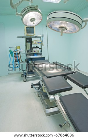 Operating room of a medical center with monitoring equipment