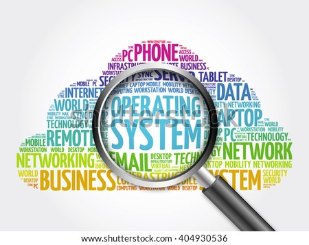 Operating System word cloud with magnifying glass, business concept