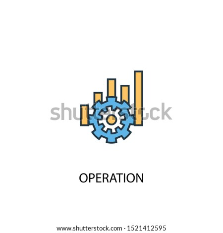 operation concept 2 colored line icon. Simple yellow and blue element illustration. operation concept outline symbol design