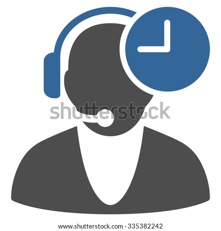 Operator Time glyph icon. Style is bicolor flat symbol, cobalt and gray colors, rounded angles, white background. #335382242