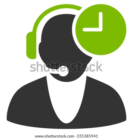 Operator Time glyph icon. Style is bicolor flat symbol, eco green and gray colors, rounded angles, white background. #335385941