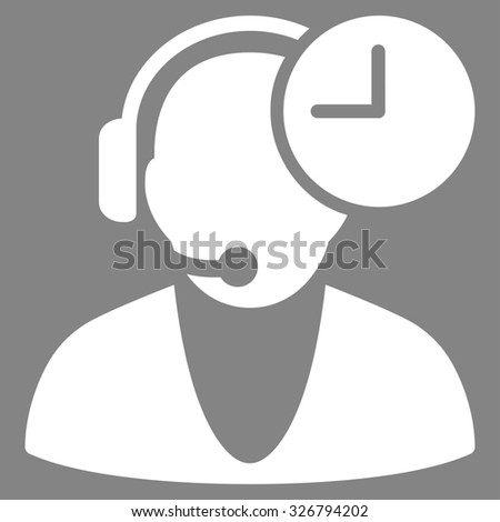 Operator Time illustration icon. Style is flat symbol, white color, rounded angles, gray background. #326794202