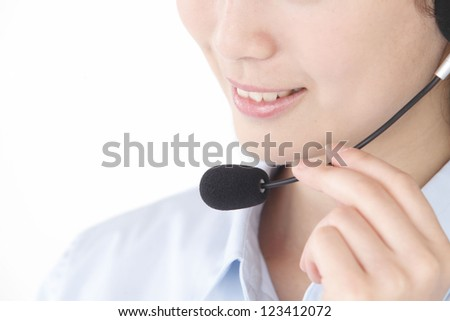 Operator woman mouth