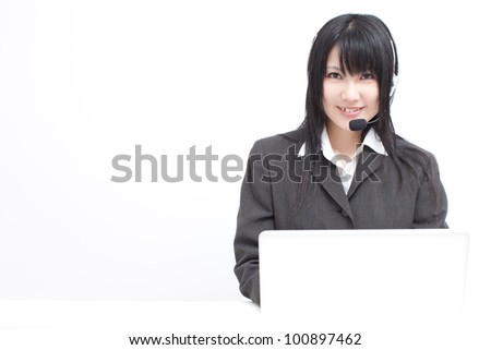 operator woman using laptop computer, isolated on white background