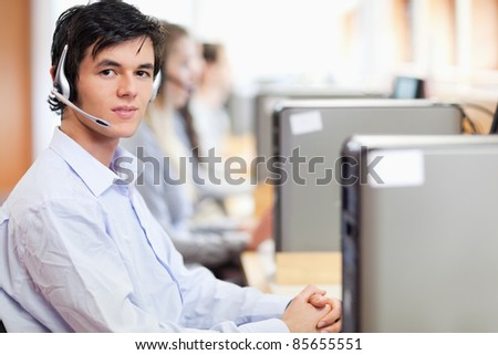 Operators using a computer in a call center