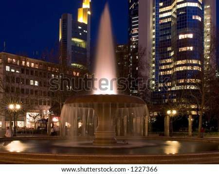 Operplatz at night, Frankfurt, Germany