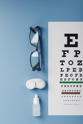 Ophthalmic Accessories Glasses and lenses with an Eye Test Chart for vision correction on a blue background. Treating vision problems. Close-up