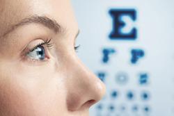 Ophthalmologist concept. Woman's face, closeup