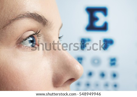 Ophthalmologist concept. Woman's face, closeup
