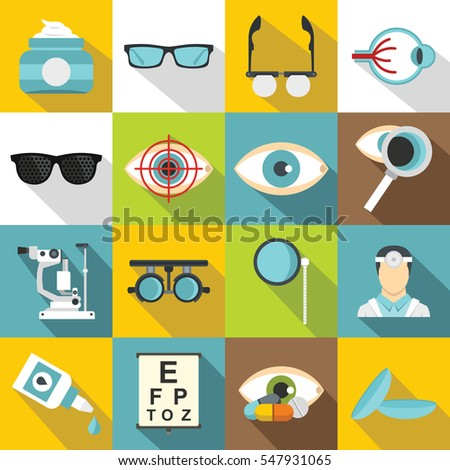 Ophthalmologist tools icons set. Flat illustration of 16 ophthalmologist tools  icons for web