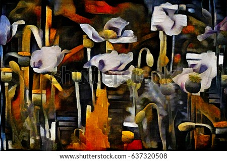 Opium poppy. Abstraction in the style of modern avant-garde. Executed in oil on canvas with elements of pastel painting.Famous style of Georges Braque, Matisse, van Gogh, Pollock