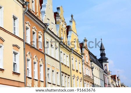 Opole, Poland - city architecture. Residential architecture at main square (Rynek). - stock photo