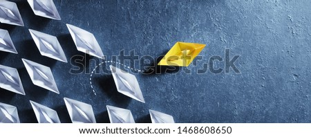 Opportunities Business Concept - Paper Boat Change Direction Stock photo ©