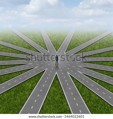 Opportunities for women and business success with female opportunity choices as a businesswoman in the centre of a group of roads with 3D illustration elements.