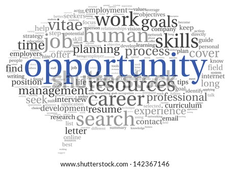 Opportunity and success concept in word tag cloud on white