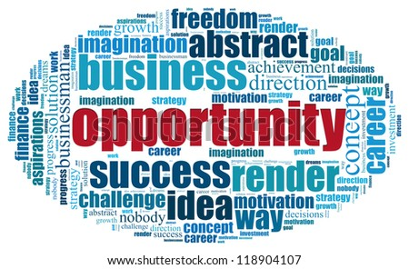 opportunity concept in word tag cloud on white background