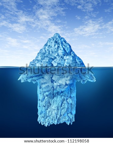 Opportunity discovery  as a business symbol represented by an iceberg with an arrow shape hidden under the water as a concept of smart investment advice for future potential growth. - stock photo