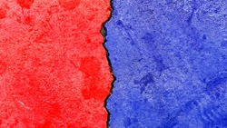 Opposed colors texture banner, abstract political election conflicts concept background, e.g., USA, Republican party red color VS Democratic party blue color pattern painted on weathered cracked wall