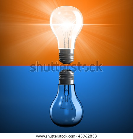 Opposite light bulbs