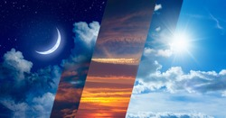 Opposites in nature: day and night, light and darkness, sun and moon. Weather forecast and time concept image. Elements of this image furnished by NASA