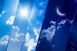 Opposites in nature: day and night, light and darkness, sun and moon. Weather forecast background. Elements of this image furnished by NASA