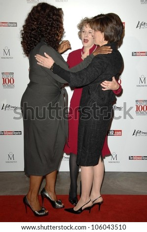 Oprah Winfrey with Elizabeth Guider and Anne Sweeney   at The Hollywood Reporter's Annual Women In Entertainment Breakfast. Beverly Hills Hotel, Beverly Hills, CA. 12-05-08